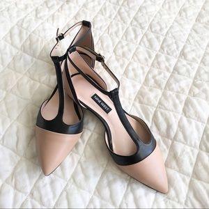 98f6adfb6189 Nine West Shoes - Nine West Two Tone T-Strap Ballet Flats